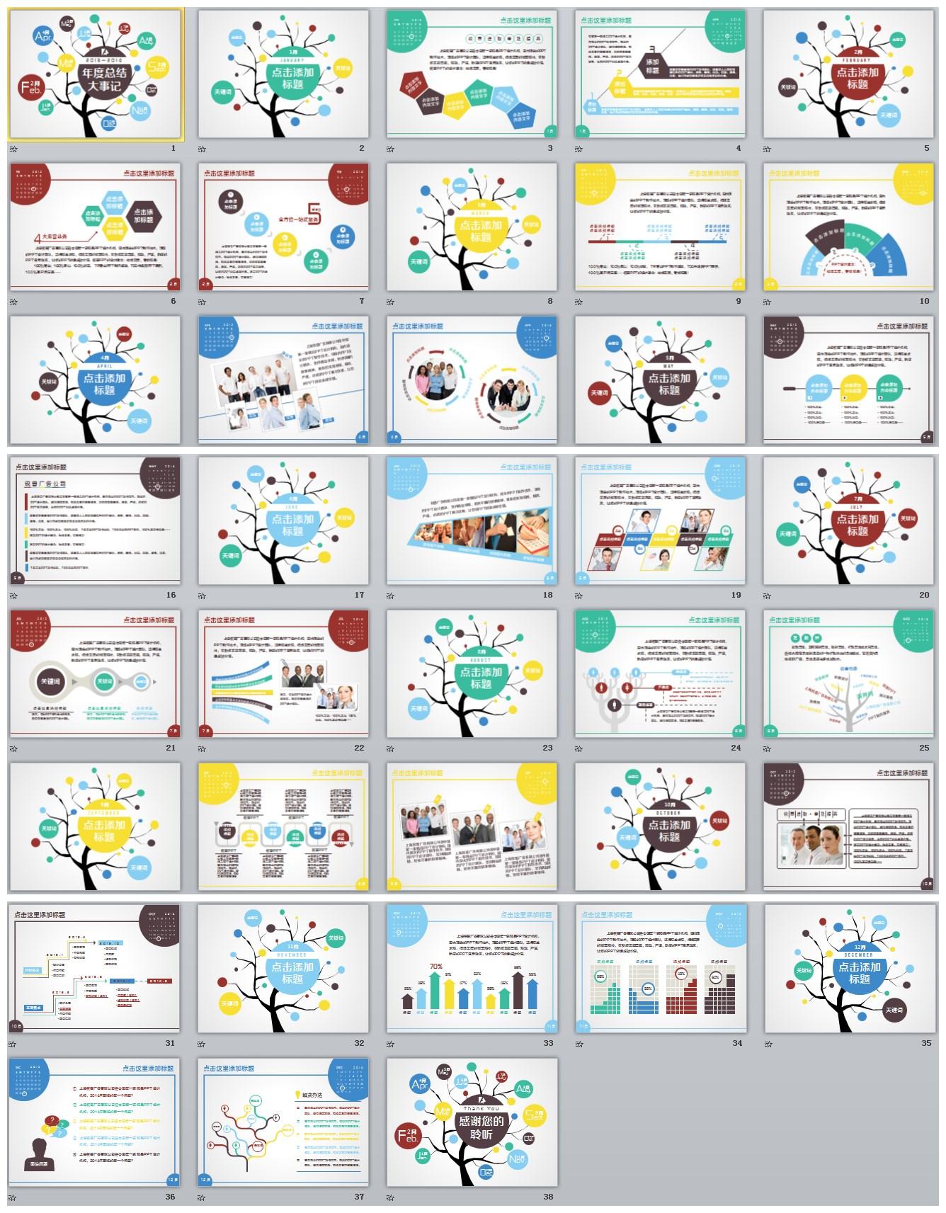 创意月历树型(大事记)年终总结及新年计划类通用模板图片